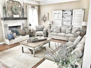 Shabby chic living room styled with old doors adding architectural interest.