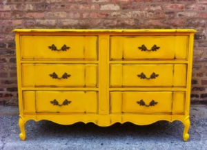 French provincial dresser painted in sunflower yellow.