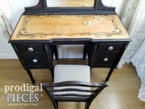 Antique vanity from the 1920s painted in black.