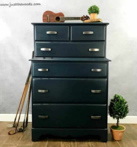 Masculine dresser painted in navy blue.