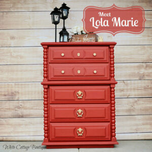 Chest of drawers painted in red
