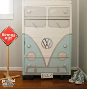 Waterfall dresser transformed into a VW van.